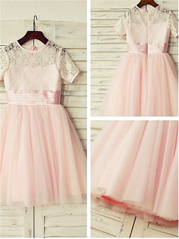A-Line/Princess Jewel Short Sleeves Lace Tea-length Tulle Flower Girl Dress