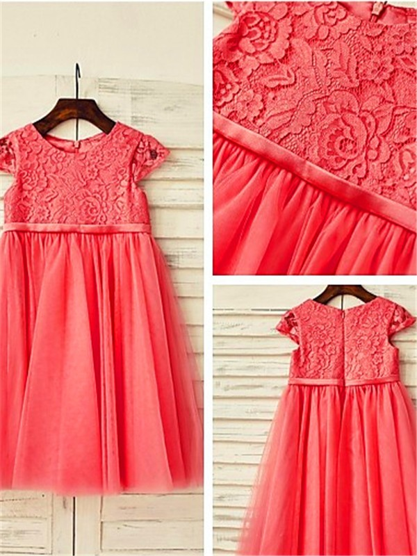 A-Line/Princess Scoop Short Sleeves Lace Tea-Length Tulle Flower Girl Dress