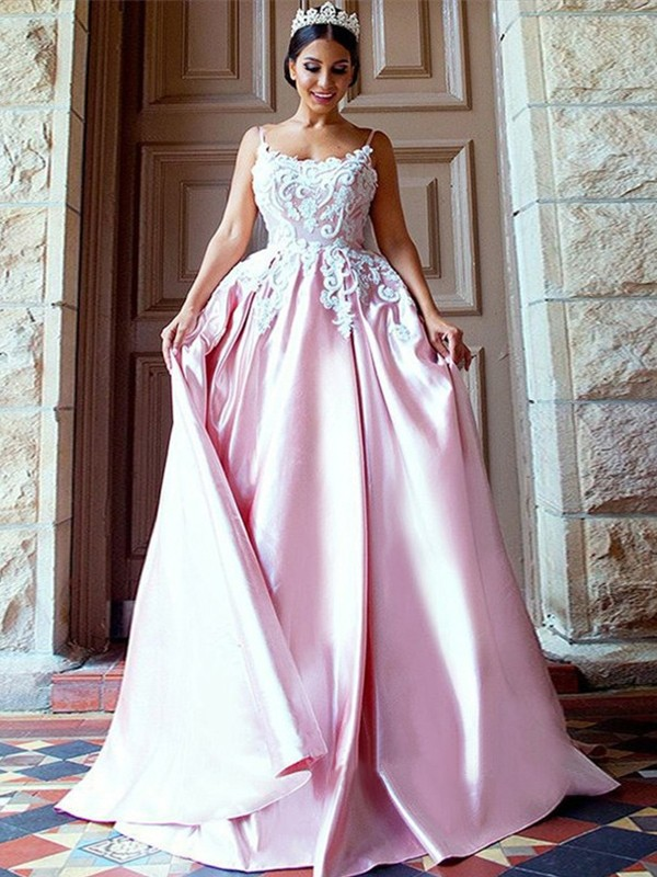 Ball Gown Spaghetti Straps Long Satin Dress
