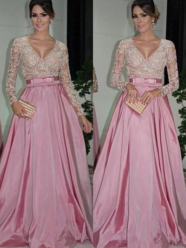 A-Line/Princess Long Sleeves V-neck Long Satin Dress