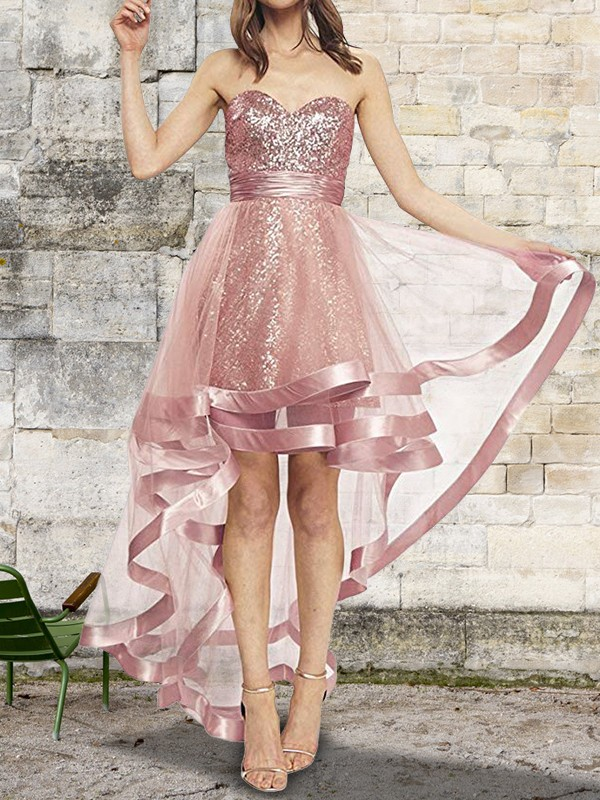 A-Line/Princess Sweetheart Asymmetrical Sequins Organza Dress
