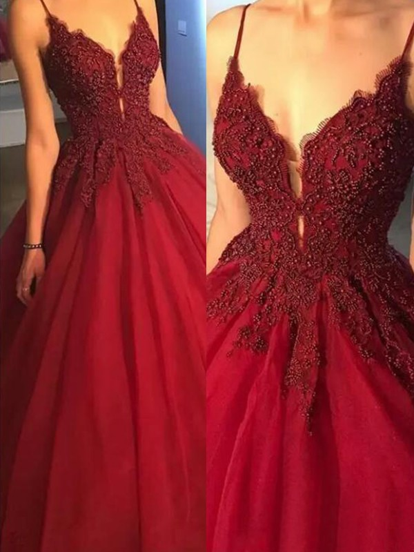 Ball Gown Spaghetti Straps Long Tulle Dress