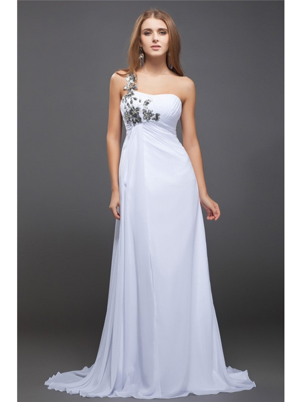 A-Line/Princess One-Shoulder Sequins Lace Long Chiffon Dress