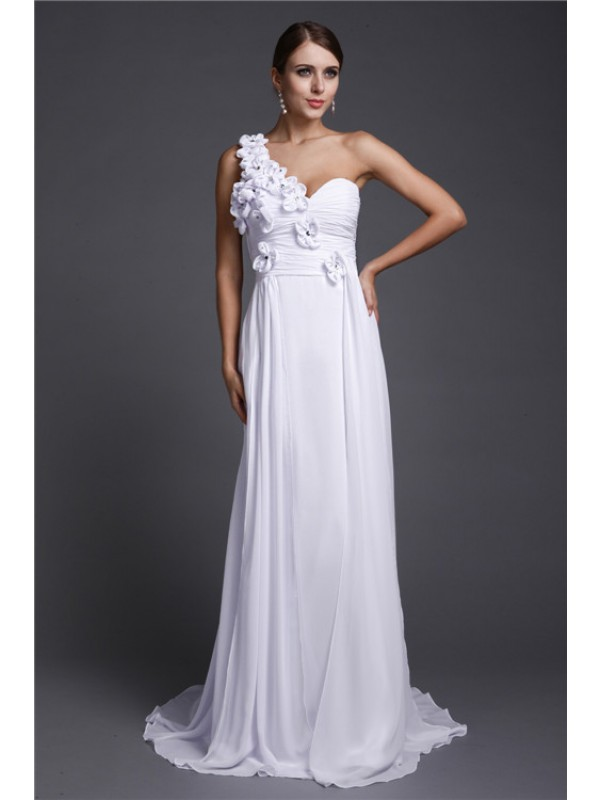 A-Line/Princess One Shoulder Long Chiffon Dress