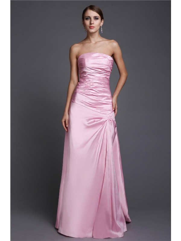 A-Line/Princess Strapless Long Elastic Woven Satin Dress