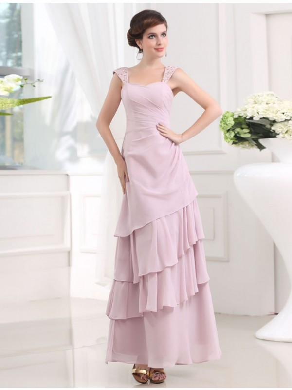 A-Line/Princess Straps LayeChiffon Long Dress