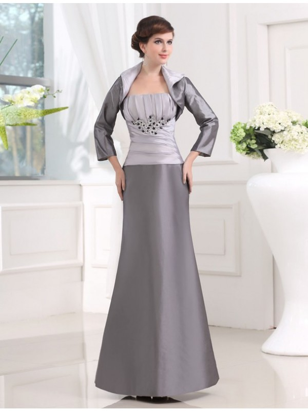 Strapless Taffeta Long Mother of the Bride Dress