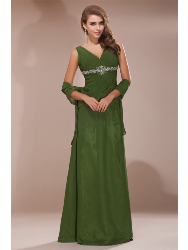 Sheath/Column V-neck Long Chiffon Mother of the Bride Dress