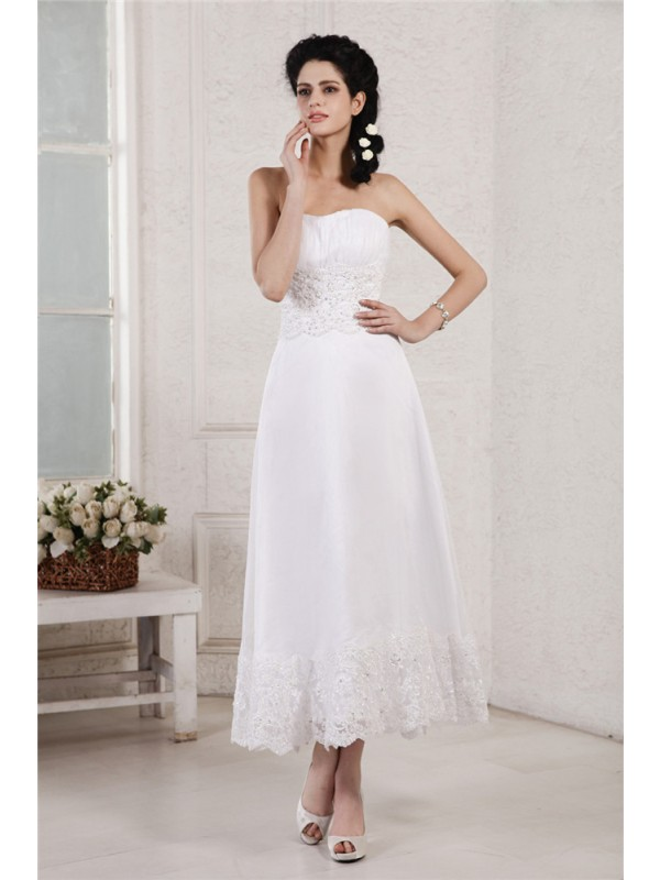 A-Line/Princess Strapless Short Chiffon Wedding Dress