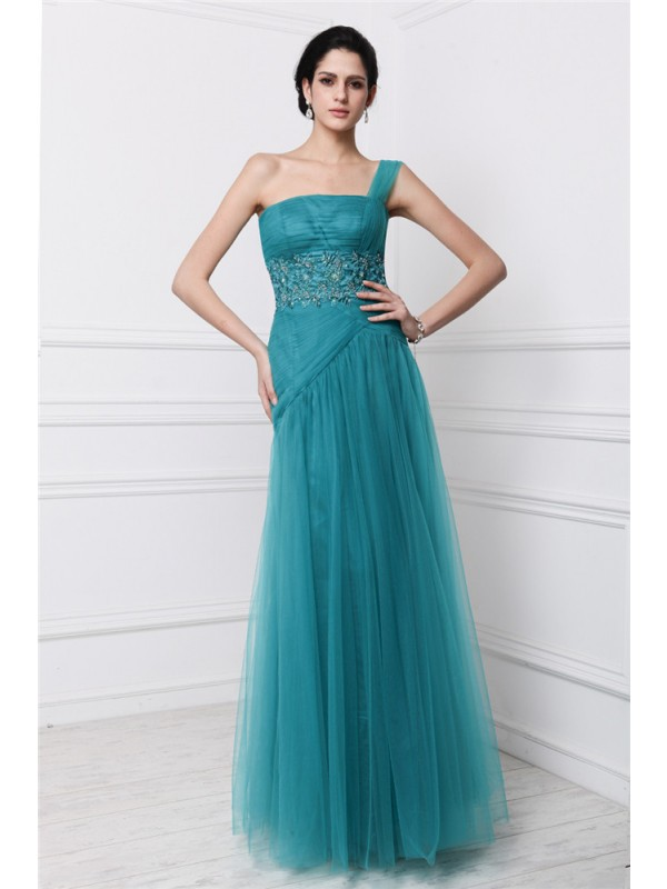 Sheath/Column One-Shoulder Long Net Dress
