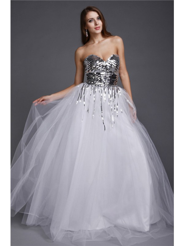 A-Line/Princess Sweetheart Sequins Long Net Dress