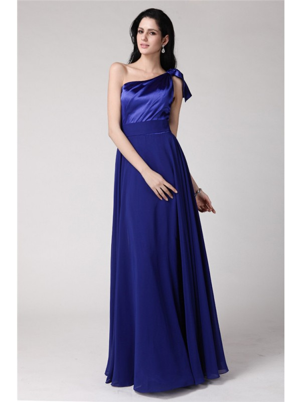 A-Line/Princess One-Shoulder Long Elastic Woven Satin Chiffon Dress