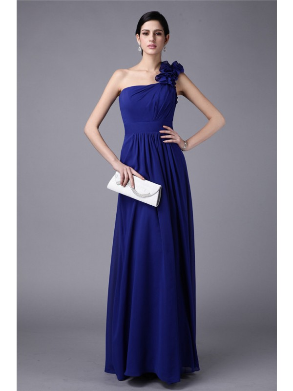 Sheath/Column One-Shoulder Long Chiffon Bridesmaid Dress