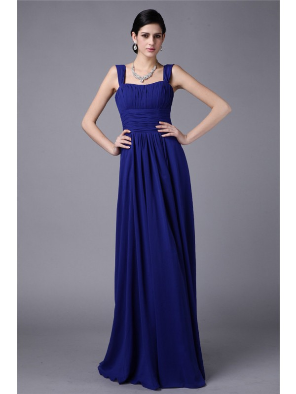 Sheath/Column Straps Long Chiffon Bridesmaid Dress