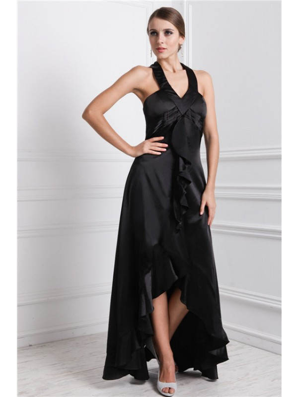 A-Line/Princess Bateau Asymmetrical Silk like Satin Dress