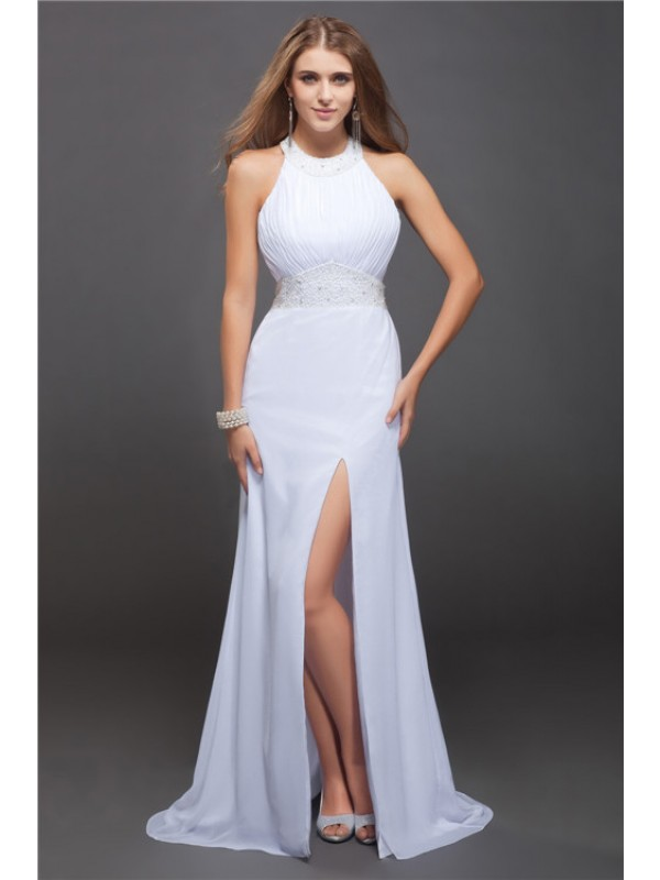 Sheath/Column Jewel Long Chiffon Dress