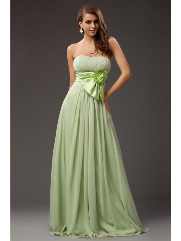 Sheath/Column Strapless Long Chiffon Elastic Woven Satin Bridesmaid Dress