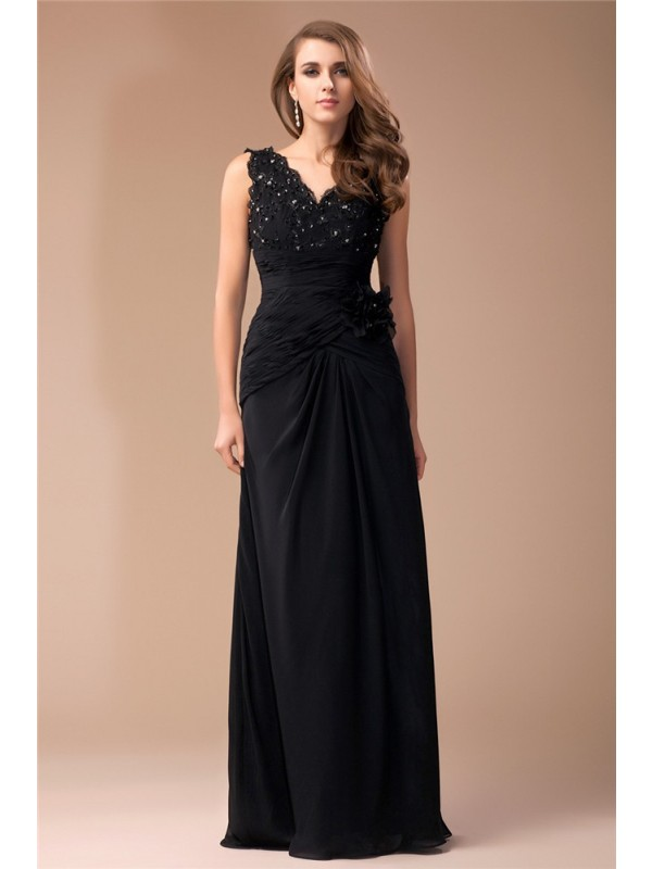 Sheath/Column V-neck Long Chiffon Dress