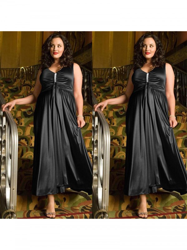 A-Line/Princess V-neck Ankle-Length Elastic Woven Satin Plus Size Dress