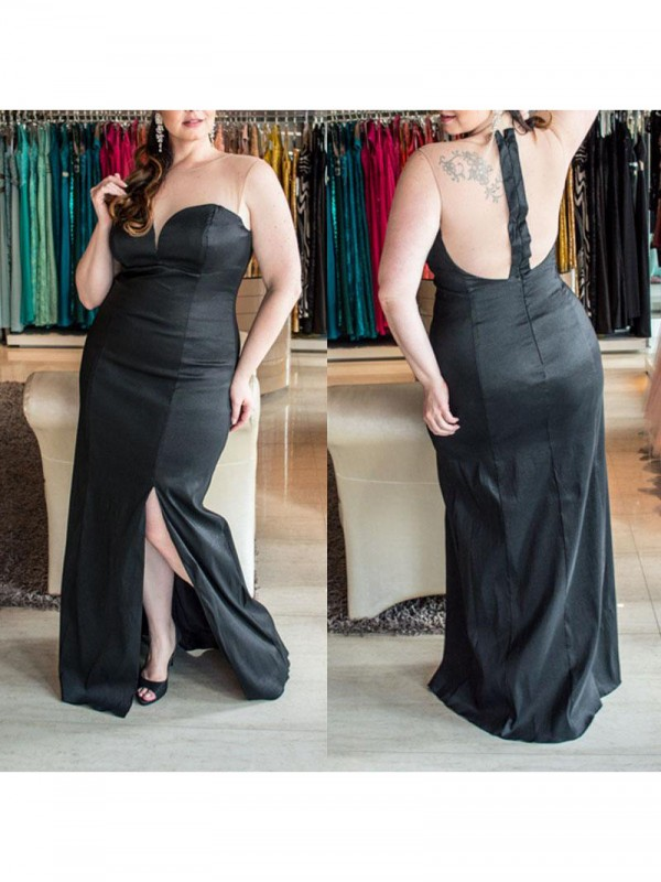 Sheath/Column Sweetheart Long Elastic Woven Satin Plus Size Dress