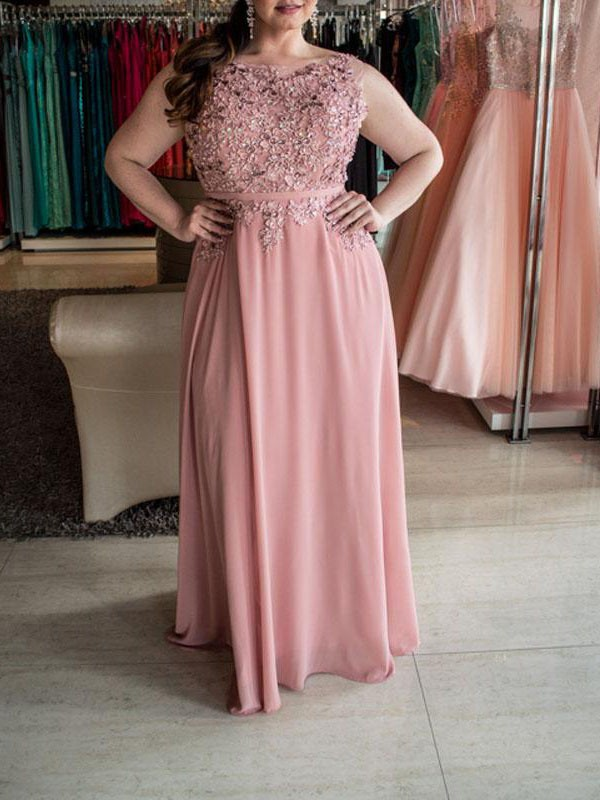 A-Line/Princess Bateau Long Chiffon Plus Size Dress