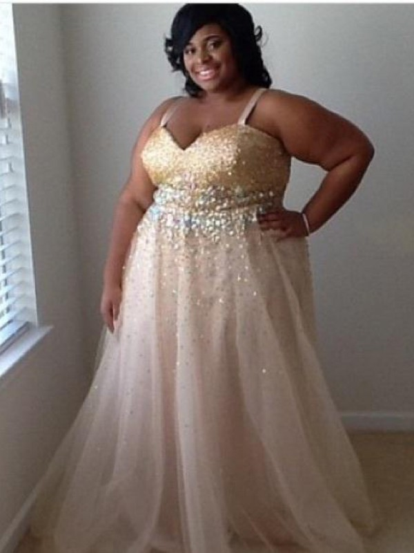 A-Line/Princess Spaghetti Straps Long Tulle Plus Size Dress