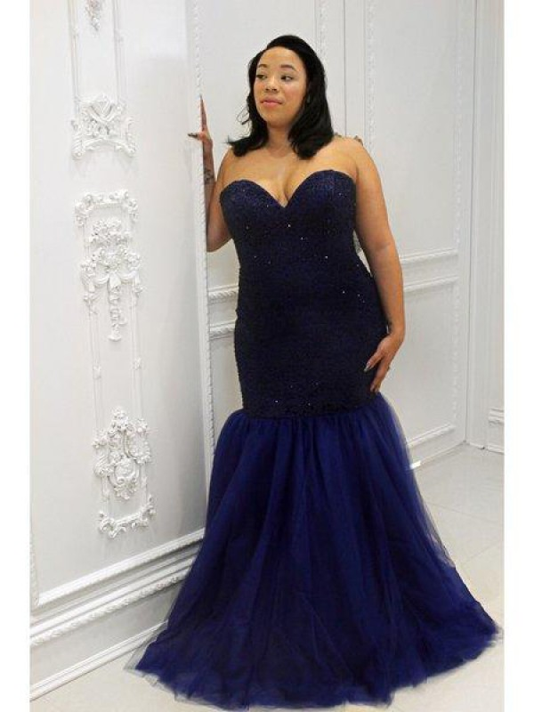 Mermaid Sweetheart Sequins Long Tulle Plus Size Dress