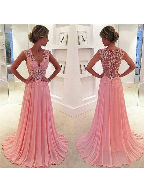 A-Line/Princess Chiffon Lace V-neck Long Dress