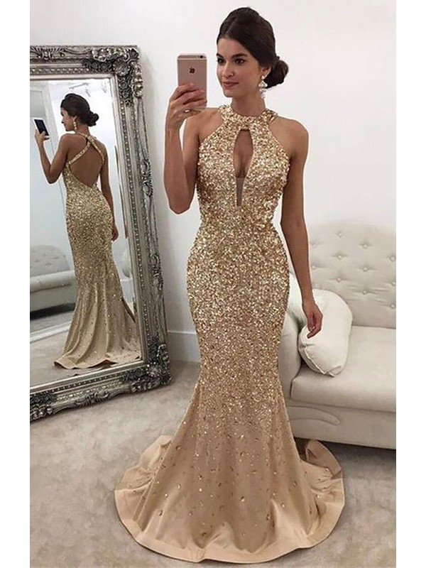 Mermaid Halter Sequins Long Satin Dress
