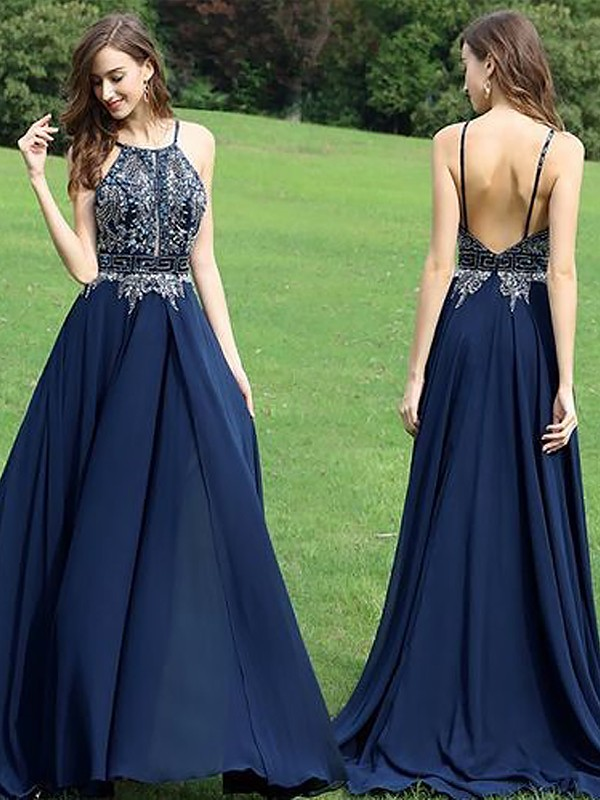 A-Line/Princess Halter Chiffon Long Dress