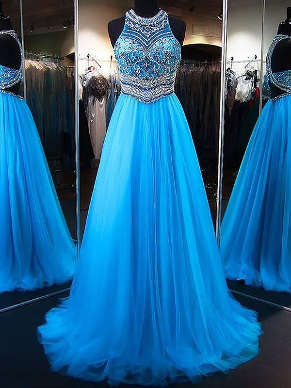 A-Line/Princess Jewel Long Tulle Dress