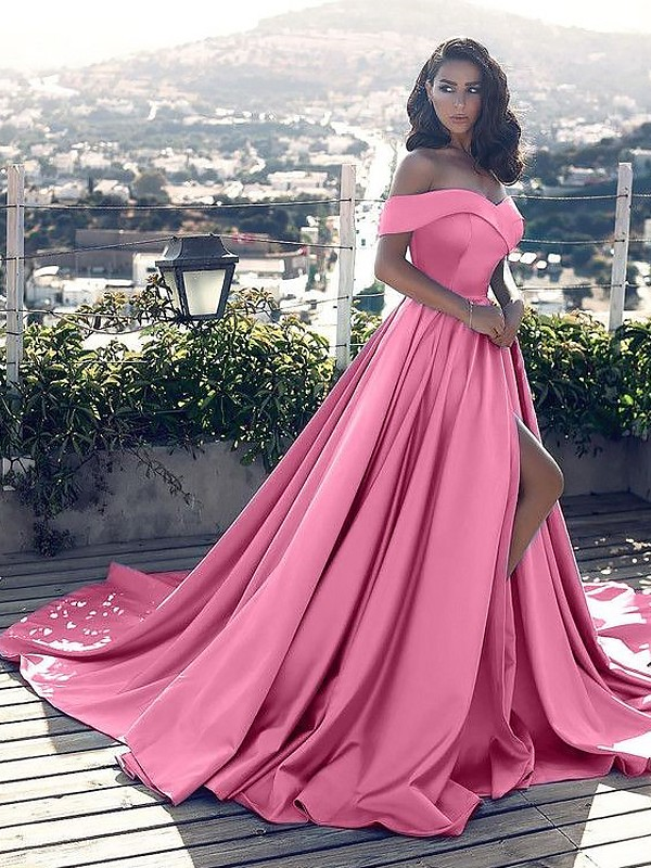 A-Line/Princess Off-the-Shoulder Satin Long Dress