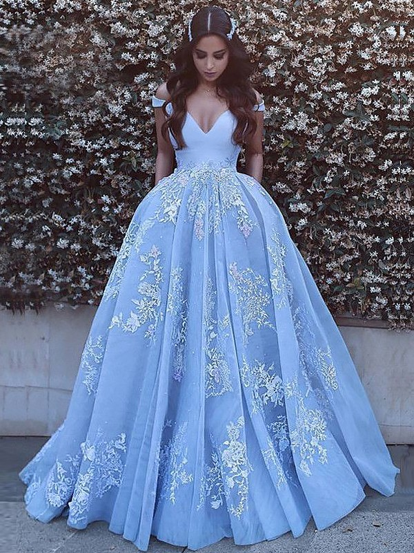 Ball Gown Off-the-Shoulder Tulle Long Dress