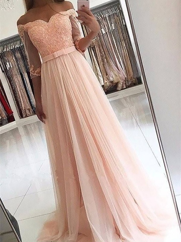 A-Line/Princess 3/4 Sleeves Off-the-Shoulder Tulle Long Dress