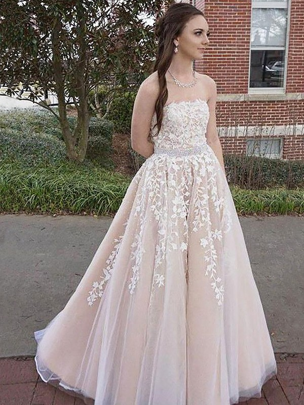 A-Line/Princess Strapless Long Tulle Dress