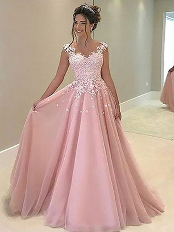 A-Line/Princess Sweetheart Long Tulle Dress