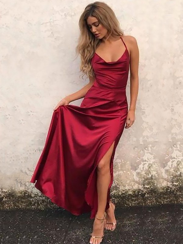 A-Line/Princess Spaghetti Straps Long Elastic Woven Satin Dress