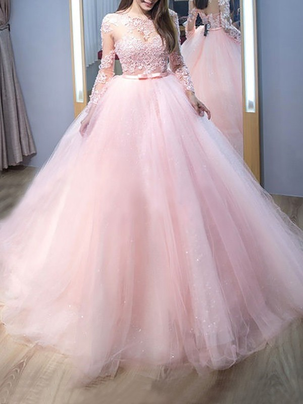 Ball Gown Jewel Long Sleeves Long Tulle Dress