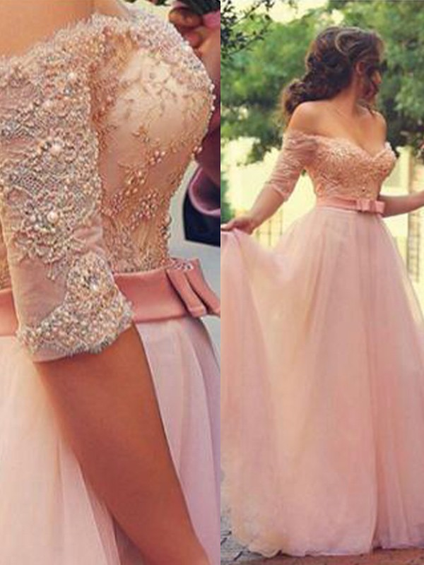 A-Line/Princess Off-the-Shoulder 1/2 Sleeves Long Tulle Dress