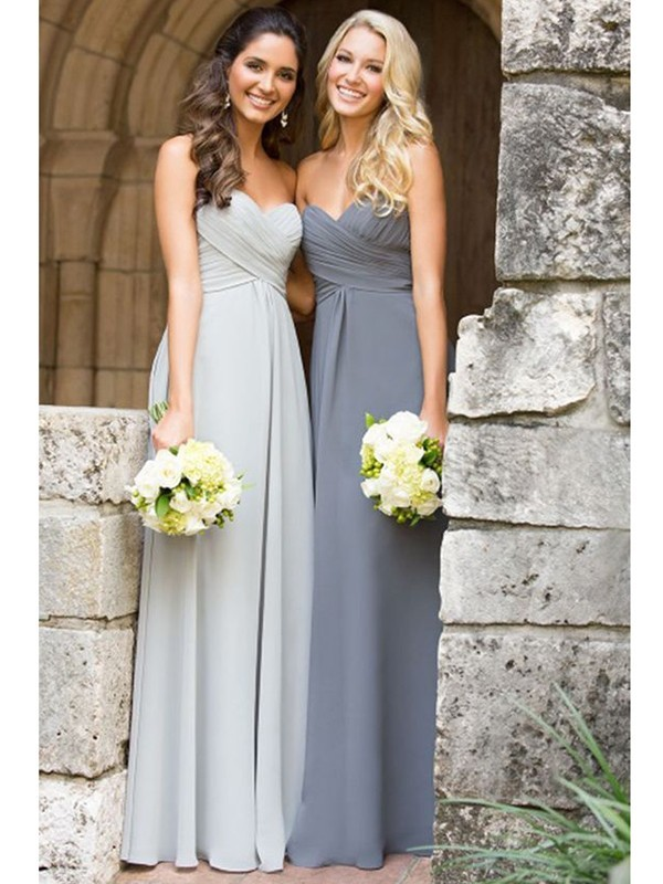 A-Line/Princess Sweetheart Long Chiffon Bridesmaid Dress