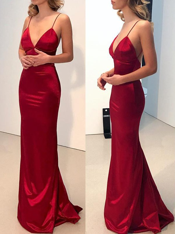 Sheath/Column Spaghetti Straps V-neck Long Silk like Satin Dress