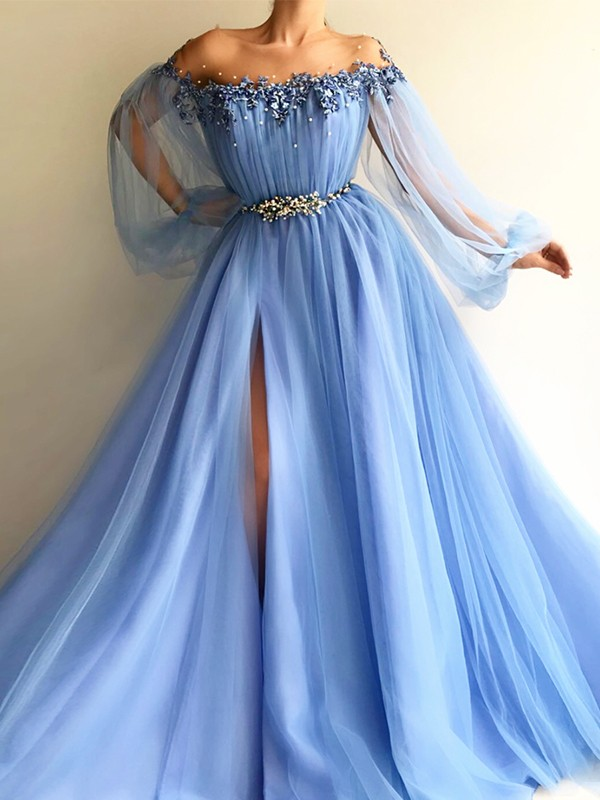 A-Line/Princess Long Sleeves Off-the-Shoulder Tulle Long Dress