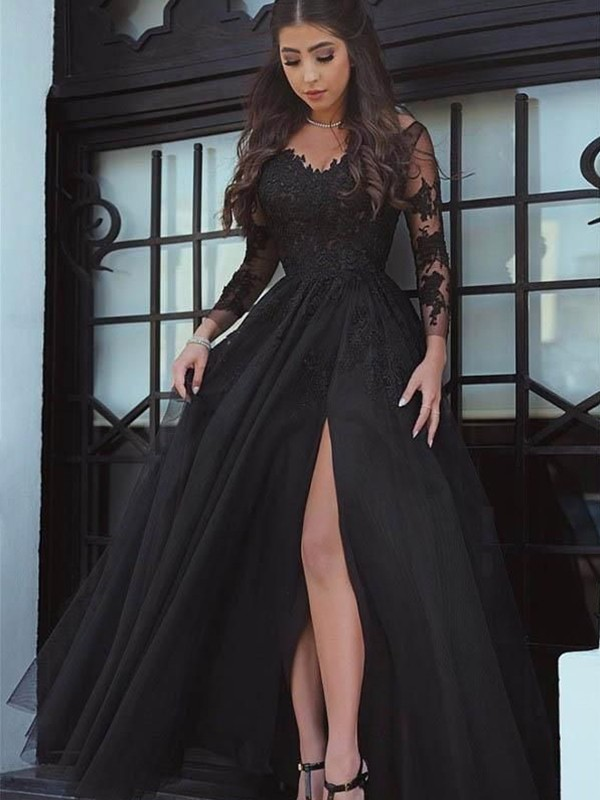 Ball Gown Long Sleeves Off-the-Shoulder Long Lace Dress