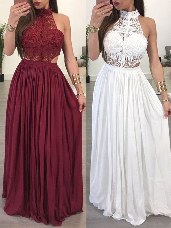 A-Line/Princess Halter Long Chiffon Lace Dress