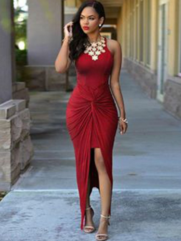 Sheath/Column Jewel Ankle-Length Spandex Asymmetrical Dress