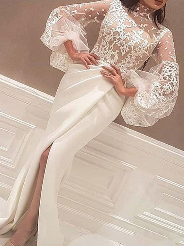 Mermaid Long Sleeves High Neck Long Satin Dress