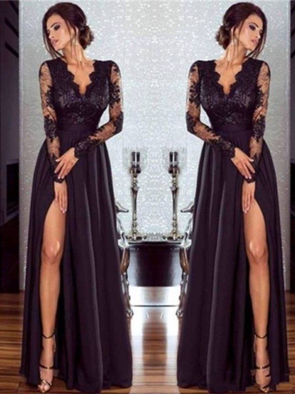 A-Line/Princess Long Sleeves V-neck Long Chiffon Dress