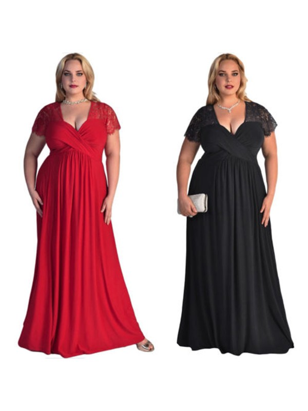 A-Line/Princess Short Sleeves V-neck Long Chiffon Plus Size Dress