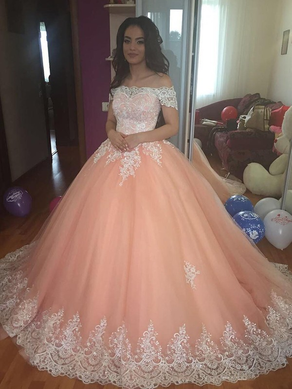 Ball Gown Off-the-Shoulder Long Tulle Dress