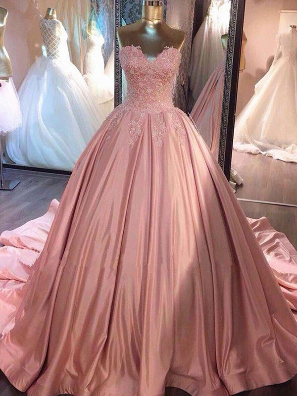 Ball Gown Sweetheart Long Satin Dress